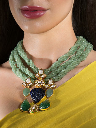 Green Gold Tone Beaded Kundan Necklace With Agate Jade And Onyx