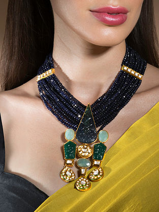 Blue Gold Tone Beaded Kundan Necklace With Agate Onyx And Jade