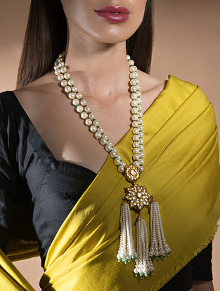 White Gold Tone Kundan Beaded Necklace With Pearls And Swarovski