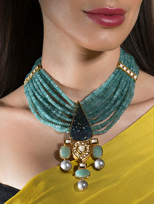 Blue Gold Tone Beaded Kundan Necklace With Agate Onyx And Pearls