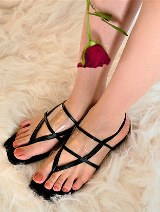 Black Handcrafted Flats