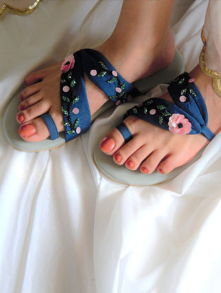 Blue Handcrafted Raw Silk Flats