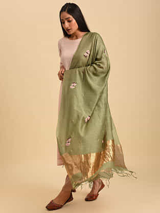 Green Hand Embroidered Tussar Silk Dupatta