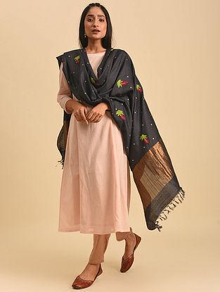 Black Hand Embroidered Tussar Silk Dupatta
