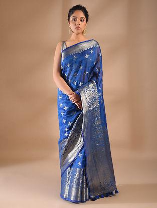 Blue Handwoven Benarasi Linen Saree