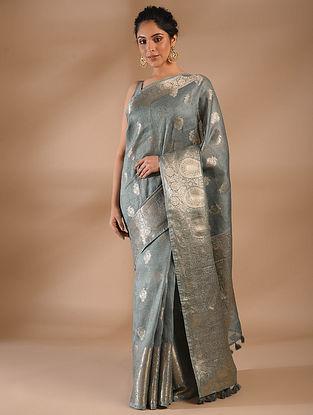 Grey Handwoven Benarasi Linen Saree