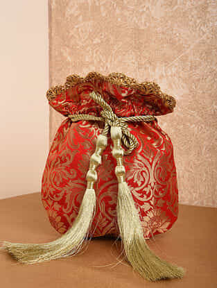 Red Handcrafted Brocade Potli