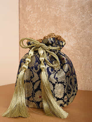 Blue Handcrafted Brocade Potli