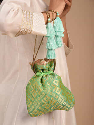 Green Handcrafted Brocade Potli