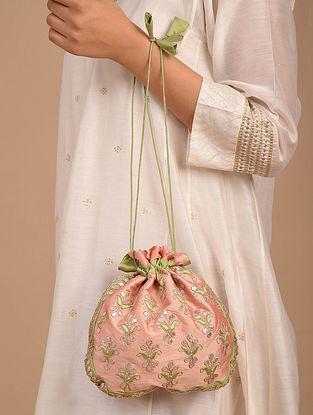 Baby Pink Handcrafted Silk Potli
