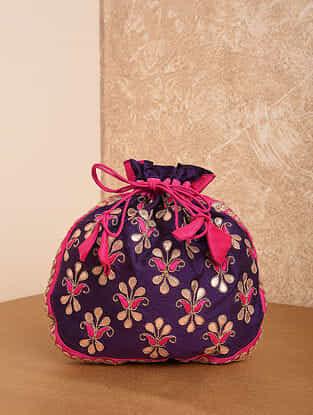 Purple Pink Handcrafted Silk Potli