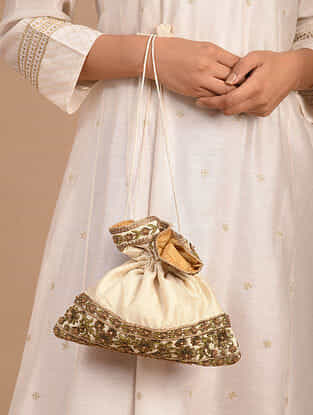 Off White Handcrafted Silk Potli