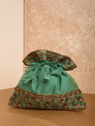 Sea Green Handcrafted Silk Potli
