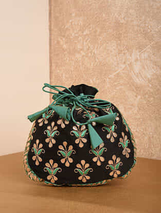 Black Green Handcrafted Silk Potli