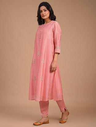 Pink Hand Embroidered Silk Cotton Kurta with Slip (Set of 2)