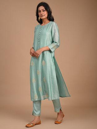Turquoise Hand Embroidered Silk Cotton Kurta with Slip (Set of 2)
