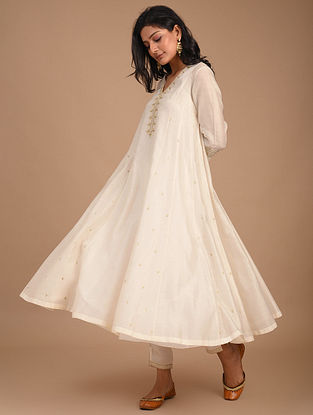 Natural Hand Embroidered Silk Cotton Kurta with Slip (Set of 2)