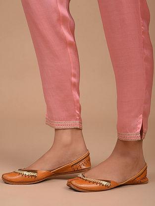 Pink Hand Embroidered Satin Modal Pants