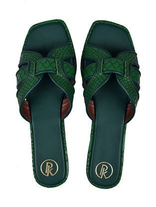 Green Handcrafted Faux Leather Flats