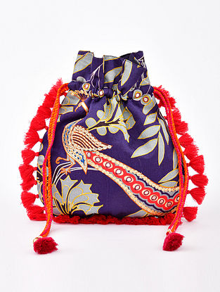 Blue Handcrafted Linen Silk Potli