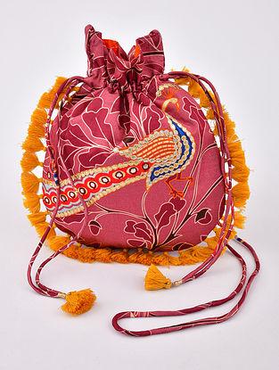Pink Handcrafted Linen Silk Potli