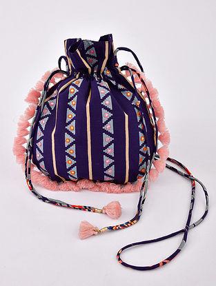 Blue Handcrafted Modal Silk Potli