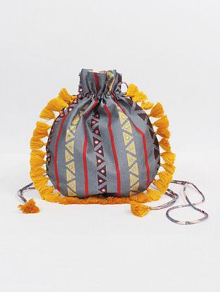 Grey Handcrafted Modal Silk Potli