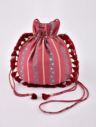 Pink Handcrafted Modal Silk Potli