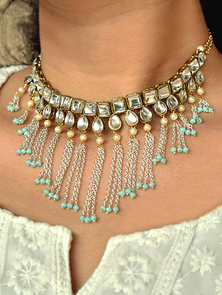 Turquoise Dual Tone Kundan Necklace And Earrings With Pearls