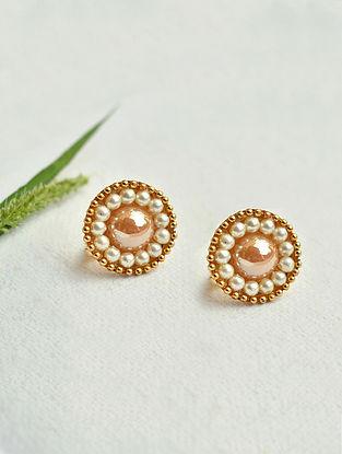 Peach White Gold Tone Pearl Beaded Earrings