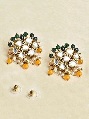 Green Yellow Gold Tone Kundan Earrings