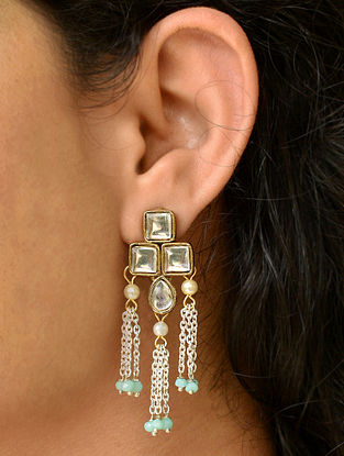 Turquoise Dual Tone Kundan Earrings