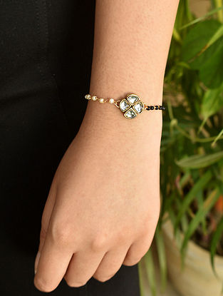 Black White Gold Tone Kundan Beaded Mangalsutra Bracelet