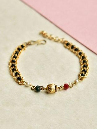 Black Red Gold Tone Beaded Mangalsutra Bracelet