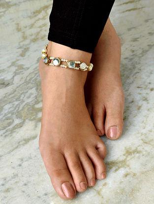 White Gold Tone Kundan Beaded Anklets