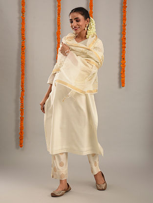 Off White and Gold Handwoven Chanderi Dupatta