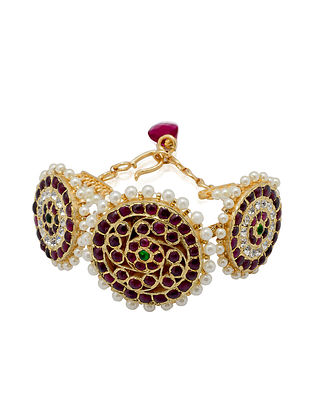 Gold Plated Kempstone Encrusted Silver Bracelet with Pearls