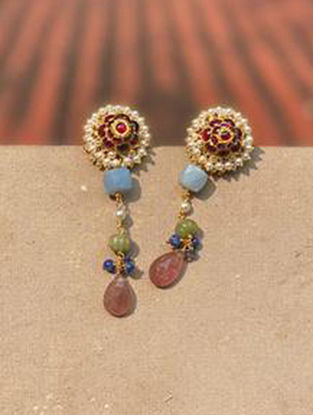 Gold Plated Kempstone Encrusted Silver Earrings with Pearls
