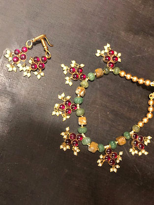 Gold Plated Kempstone Encrusted Silver Necklace With Earrings