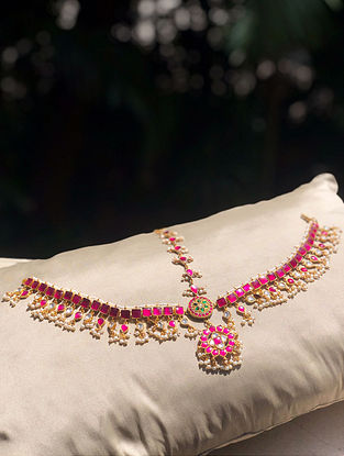 Gold Plated Kempstone Encrusted Silver Mathapatti with Pearls