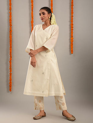 Off White Chanderi Hand Embroidered Angarakha