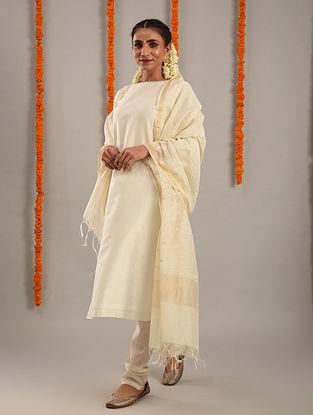Off White Chanderi Hand Embroidered Kurta