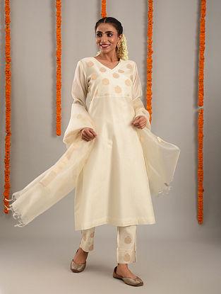Off White and Gold Chanderi Kurta