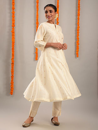 Off White and Gold Chanderi Jacquard Kurta