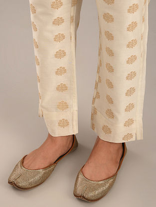 Off White and Gold Jacquard Pants