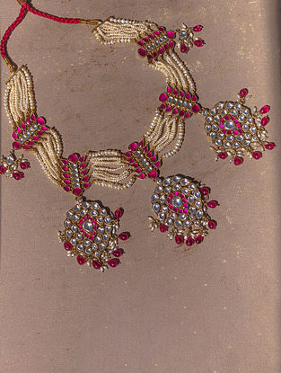 Gold Plated Kempstone Encrusted Silver Choker Necklace with Pearls