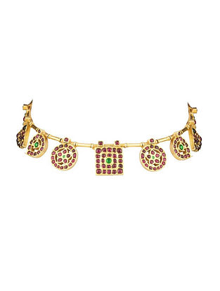 Gold Plated Kempstone Encrusted Silver Choker Necklace
