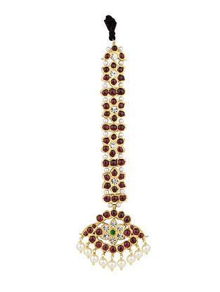 Gold Plated Kempstone Encrusted Silver Mangtika with Pearls