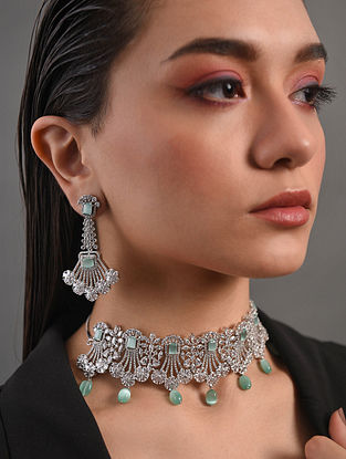 Green Silver Tone Handcrafted Necklace With Earrings