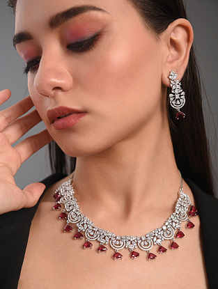Red Silver Tone Handcrafted Necklace With Earrings